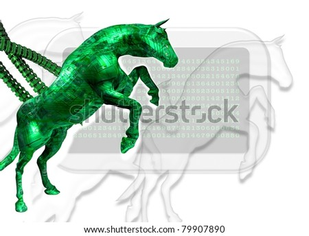 Conceptual image displaying the infection of a computer by what is know as a trojan horse virus program.