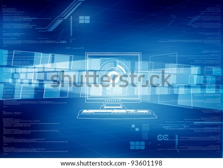 Conceptual image for data sharing and processing in digital - stock photo