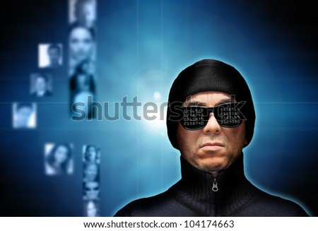 conceptual image for identity theft and hacking personal data