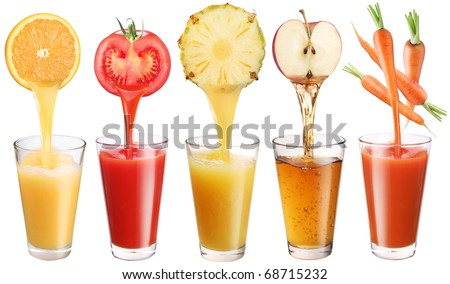 Conceptual image - fresh juice pours from fruits and vegetables in a glasses. Isolated on a white background.