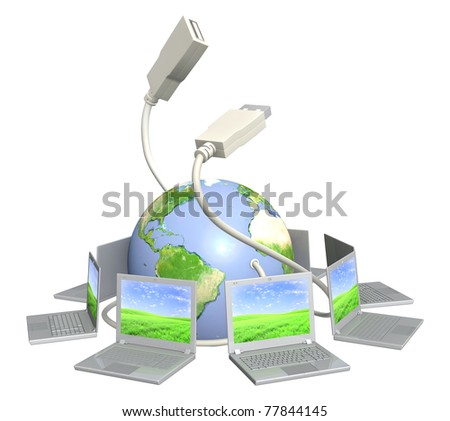 Conceptual image - global communication. Laptops and Earth