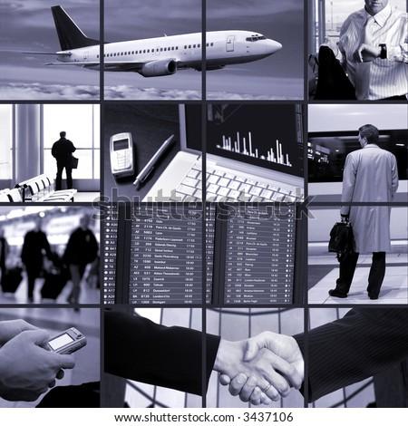 Conceptual image-grid of business photos: business trip.