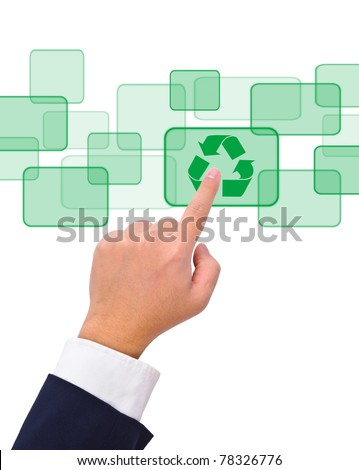 Conceptual image, hand pushing a recycle button on a touch screen interface.