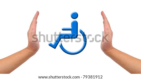 Conceptual image, help and care for handicapped person. Two hands isolated on white with blue wheelchair icon in the middle.