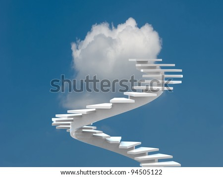 Conceptual image - ladder in the sky - 3d illustration