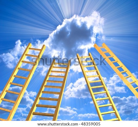 Conceptual image - ladders in the sky