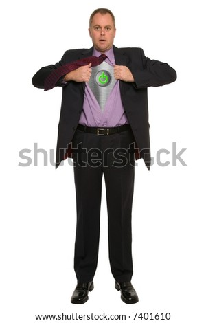 Conceptual image of a businessman pulling his shirt open to reveal an on/off switch.
