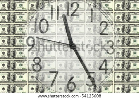 conceptual image of a clock on dollar bill background