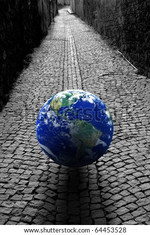 conceptual image of a globe on the road