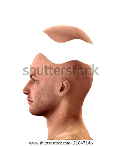 Conceptual image of a man going to pieces. - stock photo