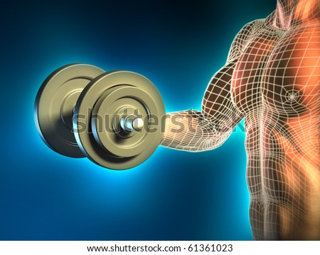 Conceptual image of a young man doing weight lifting exercises. Digital illustration.