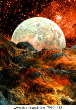 conceptual image of alien planet surface with moon on the horizon.