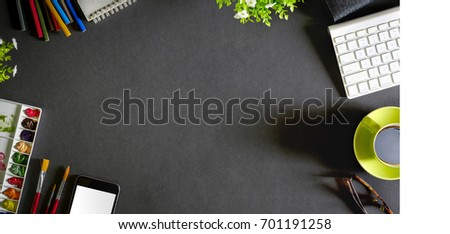 Conceptual image of Artist graphic designer workplace dark surface top view. #701191258