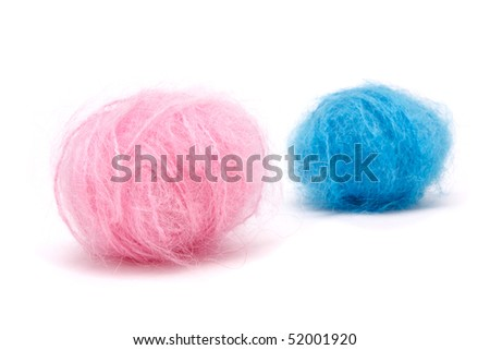 Conceptual image of Baby Pink n Blue mohair wool to illustrate is it a boy or girl?
