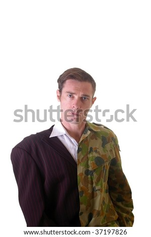 Conceptual image of business man and army man with half shaved head and part suit and part soldier uniform.