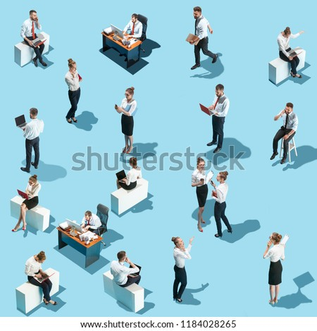 Conceptual image of business processes with businessman and businesswoman. Flat isometric view. The human resources, communication, internet, teamwork concept. Miniature people. Collage #1184028265