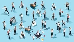 Conceptual image of business processes with businessman and businesswoman on blue. Flat isometric view. The human resources, communication, internet, teamwork concept. Miniature people. Collage