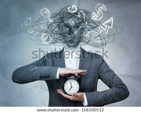 Conceptual image of business woman without head and daily routine icons instead. Artificial intelligence concept