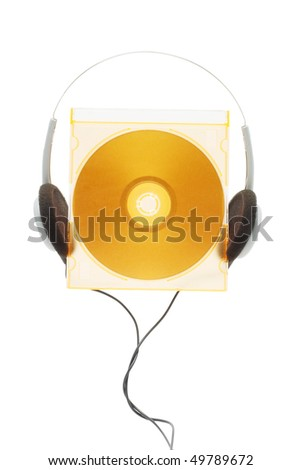 Conceptual image of compact disc and headphone on white background