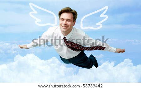 Conceptual image of contented businessman with wings flying in the clouds
