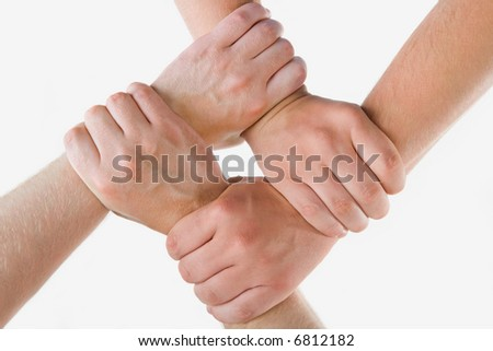 Conceptual image of crossed hands isolated over white background