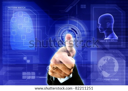 conceptual image of digital fingerprint identification security