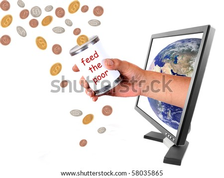Conceptual image of donating money to the world in different currencies through the internet