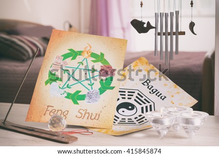 Conceptual image of Feng Shui with five elements  #415845874