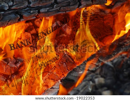 Conceptual image of flames burning pound currency notes