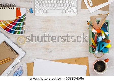 Conceptual image of graphic designer workplace, top view #539934586