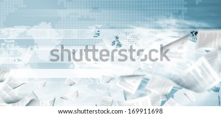Conceptual image of media concept with flying documents in air