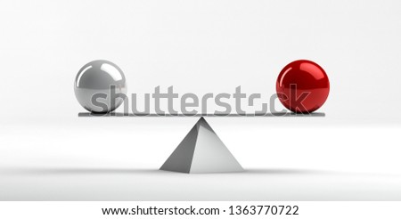 Conceptual image of perfect balance between two issues - 3d rendering