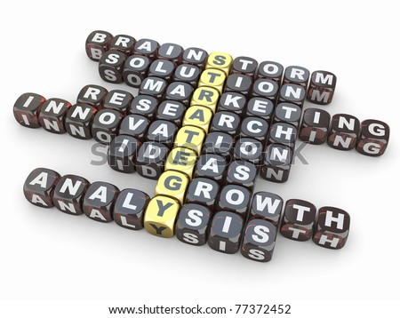 Conceptual image of strategy. Crossword from blocks with letters. 3d