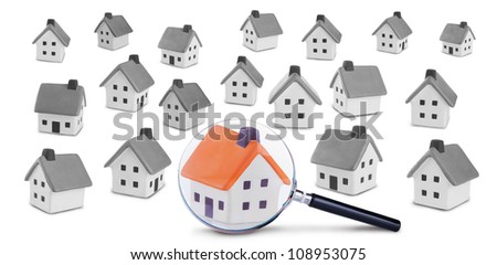 Conceptual image of the search and inspection of the house.Isolated on a white background