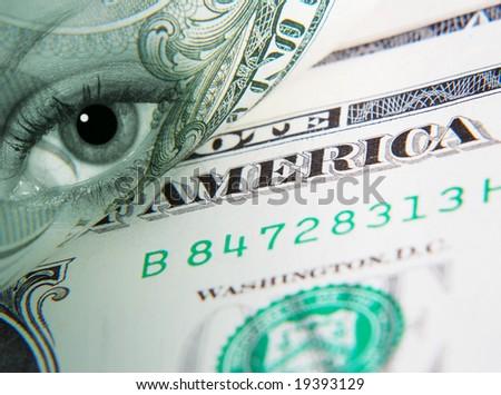 Conceptual image of US Dollar overlaid with eye