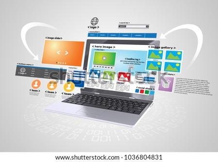 Conceptual image of Website design and development project in grey background