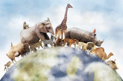 Conceptual image of wildlife around the planet earth can be used to celebrate World Animal Day