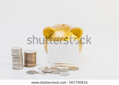 conceptual image, pile of coins close gold piggy bank on white background. #581740816