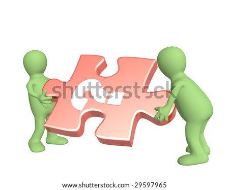 Conceptual image - success of teamwork. Object over white