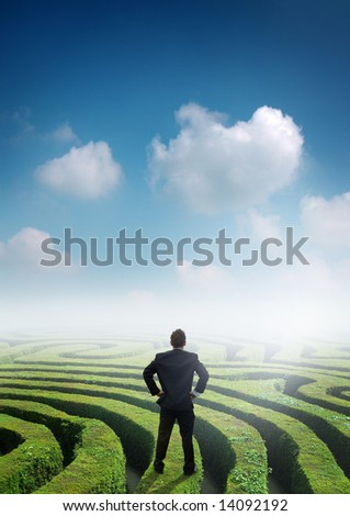 Conceptual image with a businessman on top of a maze.