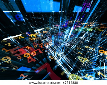 Conceptual interplay of perspective lines, shapes and symbols on the subject of business transactions, data processing, telecommunications and Internet.