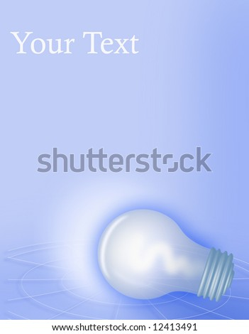 "Conceptual lightbulb illustration with copyspace for text; suitable for presentation/cover/other designs. Could reflect notions of energy, conservation, ""bright idea"""