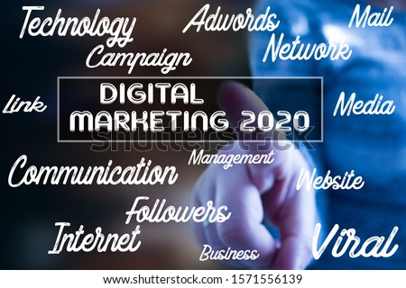 "Conceptual message writing showing ""digital marketing 2020"". Business photo. Conceptual photo list of things that are going to become popular in 2020. year."