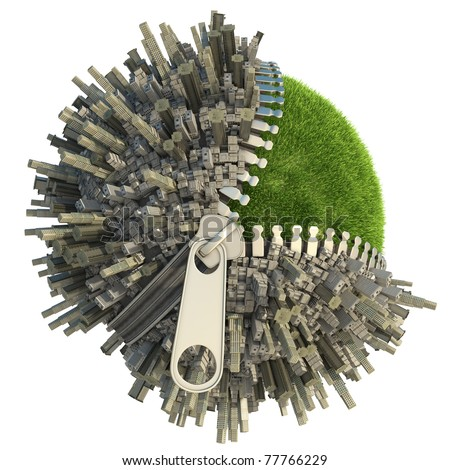 conceptual miniature planet with an open zip fastener for environmental change isolated on white