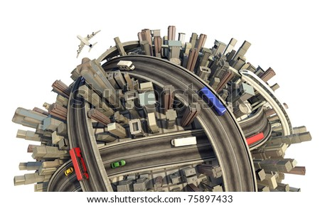 conceptual miniature urban planet close up showing a congested city modern lifestyle and transport, isolated and with clipping path