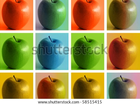 Conceptual modern art stylized photo composition featuring series of apples