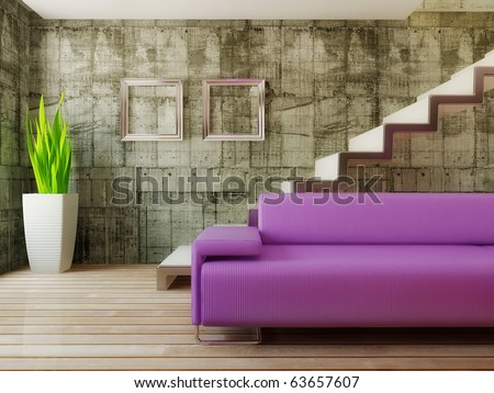 conceptual modern room with pink sofa - stock photo