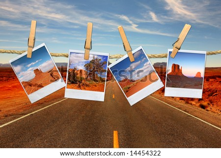 Conceptual Montage Representing Vacation Travel With instant Photos of Moument Valley Desert Hanging on a Rope