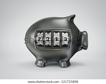 conceptual new year piggy isolated on a light background