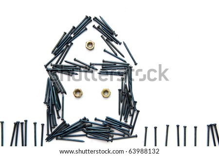 Conceptual of blue steel nail construct house with windows and fence